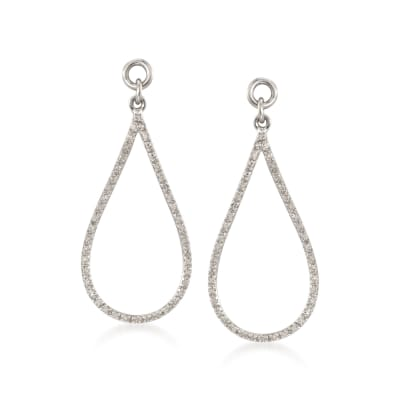 .26 ct. t.w. Diamond Open Teardrop Earring Jackets in Sterling Silver