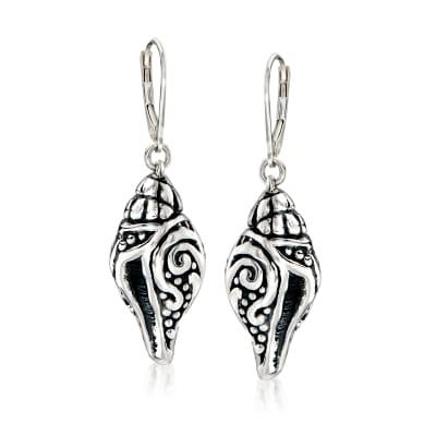 Sterling Silver Scrolling Seashell Drop Earrings