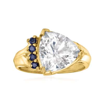 C. 1990 Vintage 4.10 Carat White Topaz Ring with .16 ct. t.w. Sapphires in 14kt Yellow Gold