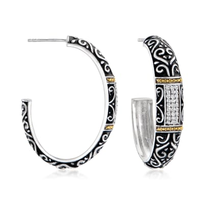 .27 ct. t.w. Diamond Bali-Style Hoop Earrings in Two-Tone Sterling Silver