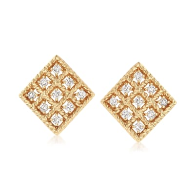 "Roberto Coin ""Byzantine Barocco"" .30 ct. t.w. Diamond Small Square Earrings in 18kt Yellow Gold"