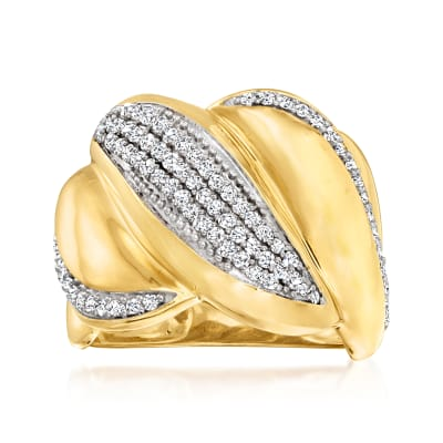 .50 ct. t.w. Diamond Twist Ring in 18kt Gold Over Sterling