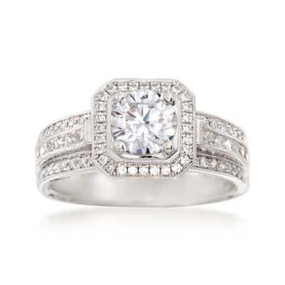 Simon G. .44 ct. t.w. Diamond Halo Engagement Ring Setting in 18kt White Gold