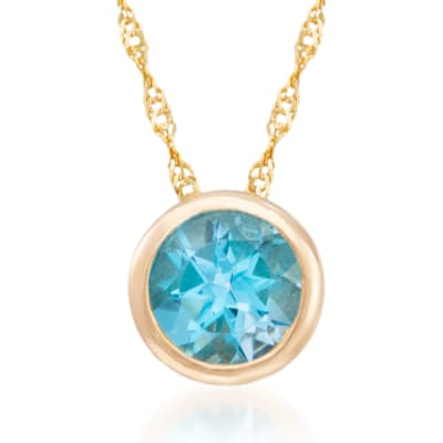 1.00 Carat Bezel-Set Blue Topaz Necklace in 14kt Yellow Gold
