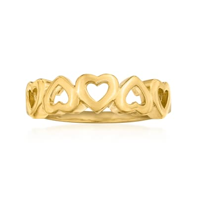 Italian 18kt Gold Over Sterling Open-Space Heart Ring