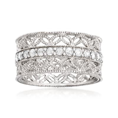 1.00 ct. t.w. Diamond Floral Eternity Band in Sterling Silver
