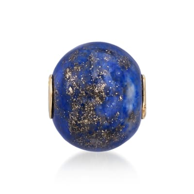 Lapis Bead Pendant with 14kt Yellow Gold