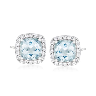 3.50 ct. t.w. Aquamarine and .50 ct. t.w. White Topaz Earrings in Sterling Silver