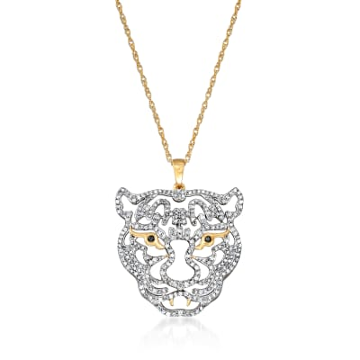 1.00 ct. t.w. Diamond Tiger Pendant Necklace with Black Diamond Accents in 18kt Gold Over Sterling