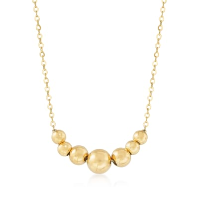 Italian 14kt Yellow Gold Graduated Bead Necklace