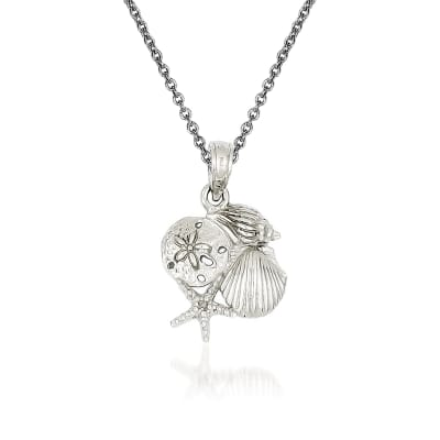 14kt White Gold Shell Pendant Necklace