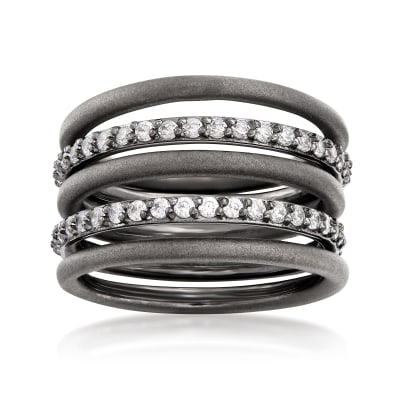 Sterling Silver Jewelry Set: Five Stackable Rings with 1.10 ct. t.w. CZs