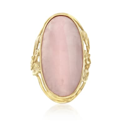 18.00 Carat Rose Quartz Ring in 14kt Yellow Gold