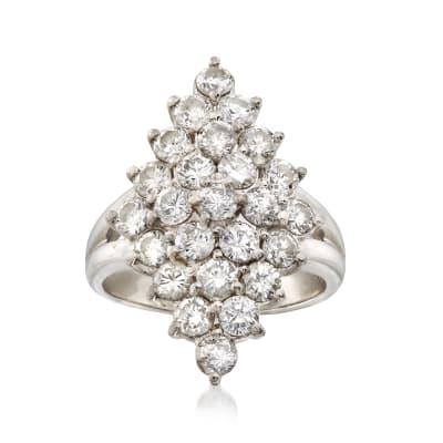 C. 1980 Vintage 2.12 ct. t.w. Diamond Cluster Ring in Platinum