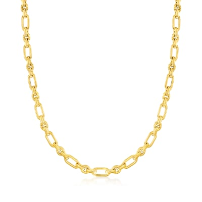 Italian 14kt Yellow Gold Oval and Rectangular Link Necklace