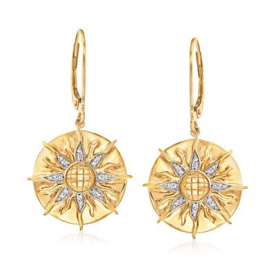 .10 ct. t.w. Diamond Sun Drop Earrings in 18kt Gold Over Sterling