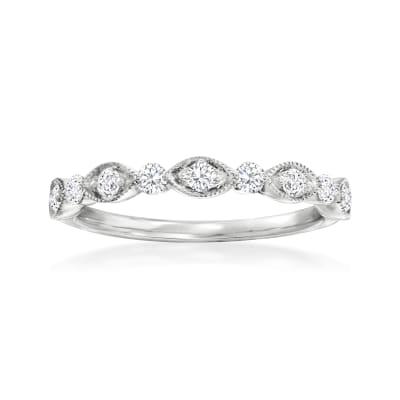 Henri Daussi .30 ct. t.w. Diamond Wedding Ring in 14kt White Gold