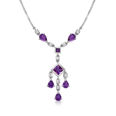 C. 2000 Vintage 2.27 ct. t.w. Amethyst and .46 ct. t.w. Diamond Drop Necklace in 18kt White Gold