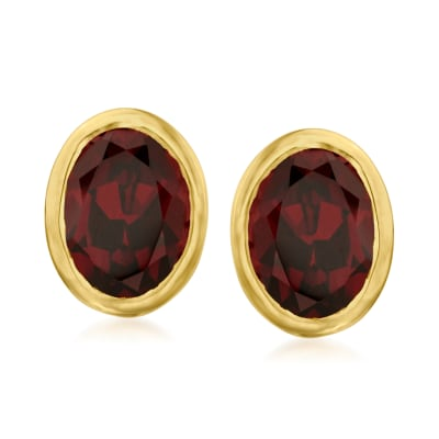 3.00 ct. t.w. Garnet Earrings in 18kt Gold Over Sterling