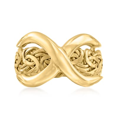 14kt Yellow Gold Byzantine Infinity Ring