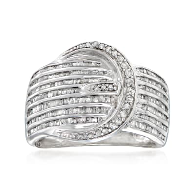 1.00 ct. t.w. Diamond Buckle Ring in Sterling Silver
