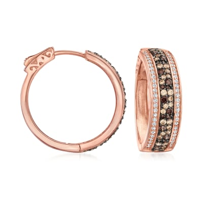 1.50 ct. t.w. Brown and White CZ Hoop Earrings in 18kt Rose Gold Over Sterling