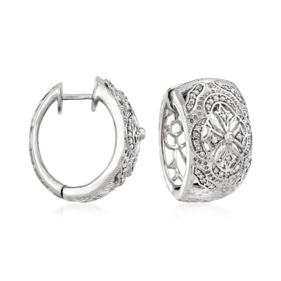 .36 ct. t.w. Diamond Openwork Cross Hoop Earrings in Sterling Silver