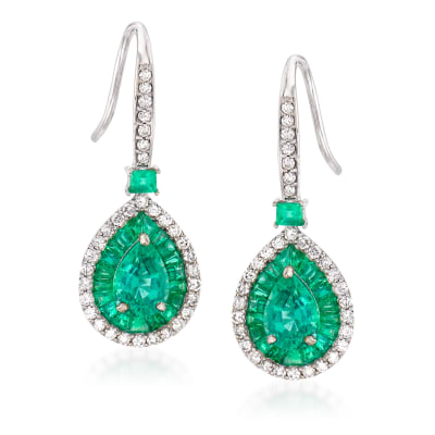 2.90 ct. t.w. Emerald and .46 ct. t.w. Diamond Drop Earrings in 14kt White Gold
