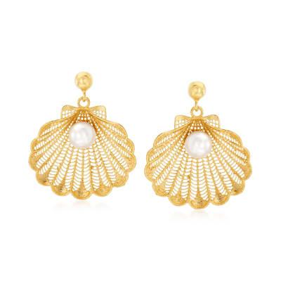 Italian 6-6.5mm Cultured Pearl Seashell Drop Earrings in 18kt Gold Over Sterling Silver