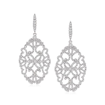 2.11 ct. t.w. Diamond Openwork Drop Earrings in 14kt White Gold