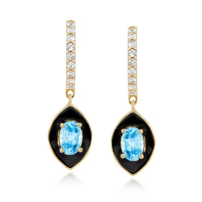 1.30 ct. t.w. White and Swiss Blue Topaz with Black Enamel Drop Earrings in 18kt Gold Over Sterling