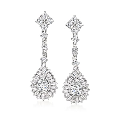 C. 1990 Vintage 3.20 ct. t.w. Diamond Drop Earrings in 14kt White Gold