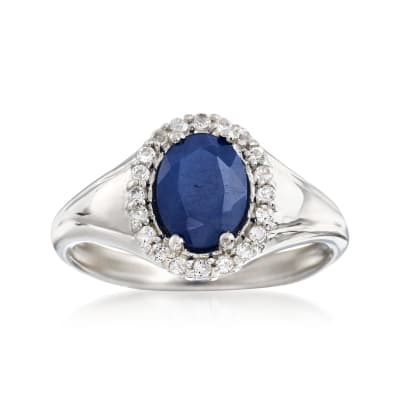 1.50 Carat Sapphire and .30 ct. t.w. White Topaz Ring in Sterling Silver