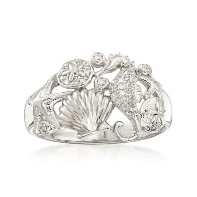 .10 ct. t.w. Diamond Sea Life Ring in Sterling Silver