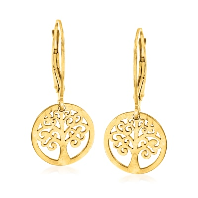 Italian 14kt Yellow Gold Tree of Life Drop Earrings