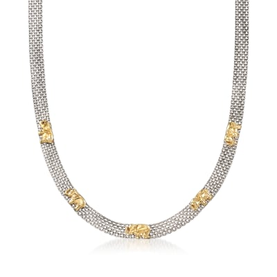 Sterling Silver and 18kt Gold Over Sterling Elephant Bismark-Link Necklace