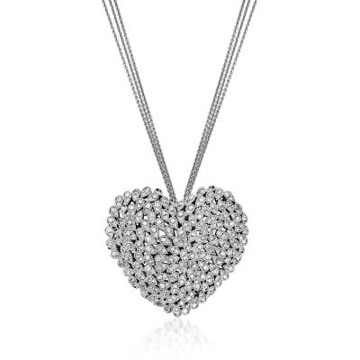 C. 1990 Vintage 3.00 ct. t.w. Diamond Heart Necklace in 14kt White Gold