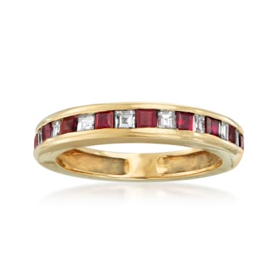 C. 1980 Vintage .85 ct. t.w. Ruby and .50 ct. t.w. Diamond Band in 14kt Yellow Gold