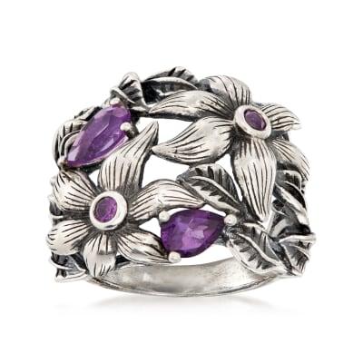 1.50 ct. t.w. Amethyst Openwork Flower Ring in Sterling Silver