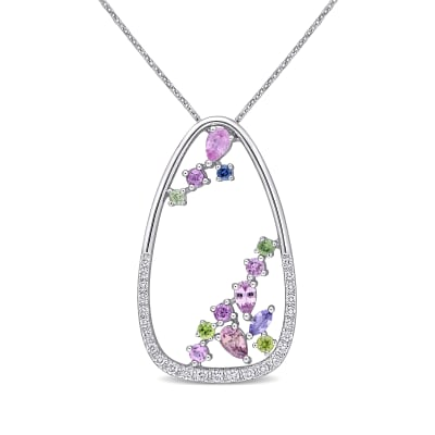 1.44 ct. t.w. Multicolored Sapphire and .31 ct. t.w. Diamond Pendant Necklace in 18kt White Gold
