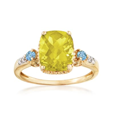 2.80 Carat Lemon Quartz Ring with .10 ct. t.w. Swiss Blue Topaz and Diamond Accents in 14kt Yellow Gold