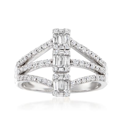 .65 ct. t.w. Baguette and Round Diamond Multi-Row Ring in 14kt White Gold