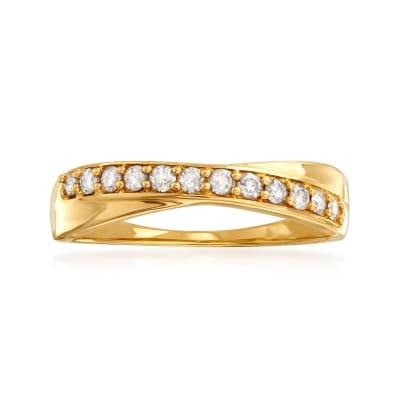 .25 ct. t.w. Diamond Crisscross Ring in 14kt Yellow Gold