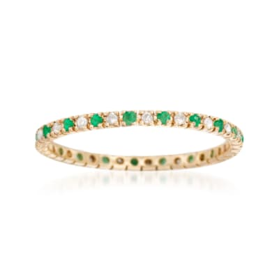 .15 ct. t.w. Emerald and .13 ct. t.w. Diamond Eternity Band Ring in 14kt Yellow Gold