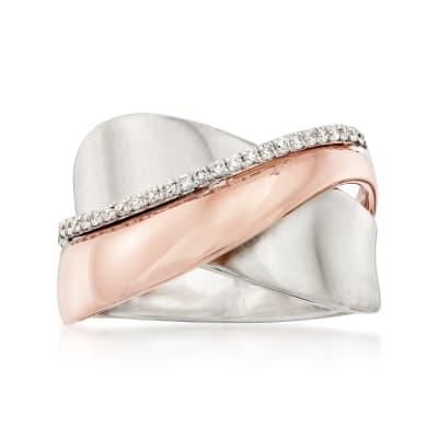 .12 ct. t.w. Diamond Crisscross Ring in 18kt Two-Tone Gold