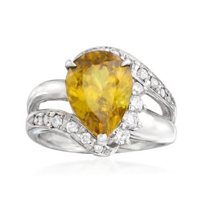 C. 1980 Vintage 4.30 Carat Sphene and .50 ct. t.w. Diamond Ring in Platinum