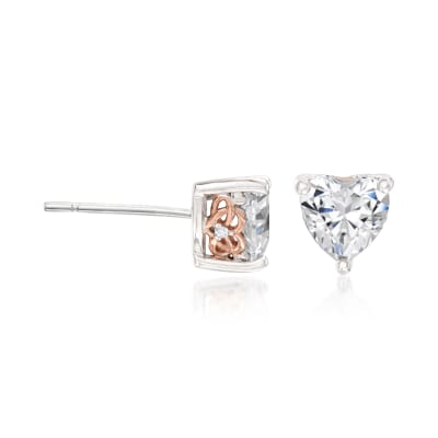 1.53 ct. t.w. Swarovski CZ Heart-Shaped Stud Earrings in Sterling Silver