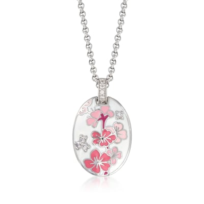 "Belle Etoile ""Constellations: Sakura"" Pink Enamel and .25 ct. t.w. CZ Pendant in Sterling Silver"
