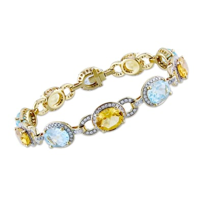 12.00 ct. t.w. Sky Blue Topaz and 8.25 ct. t.w. Citrine Bracelet with 1.60 ct. t.w. Diamonds in 14kt Yellow Gold