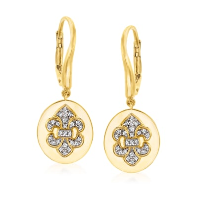 .18 ct. t.w. Diamond Fleur-De-Lis Drop Earrings in 18kt Gold Over Sterling